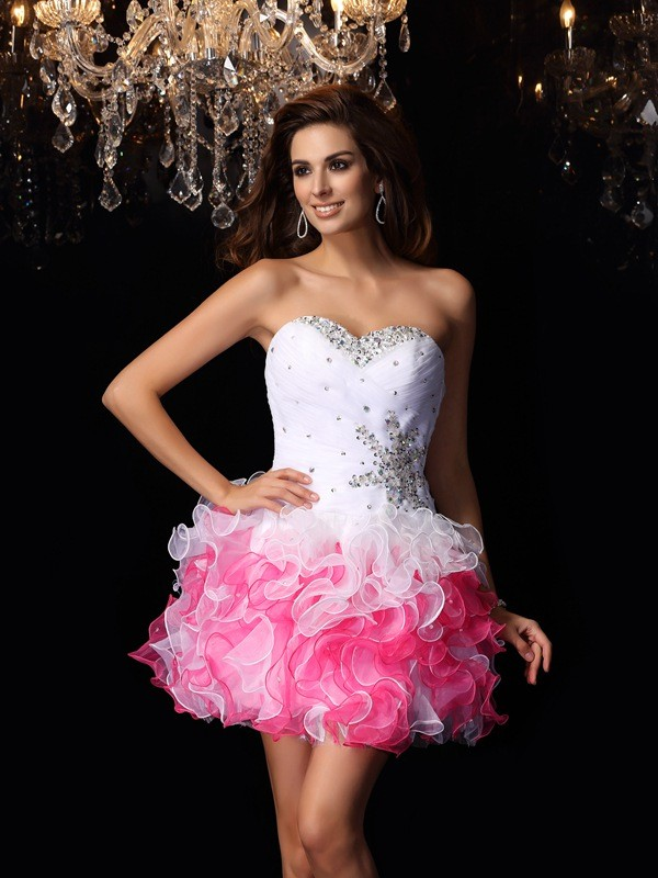 A-Line/Princess Sweetheart Sleeveless Short/Mini Organza Dresses with Ruffles