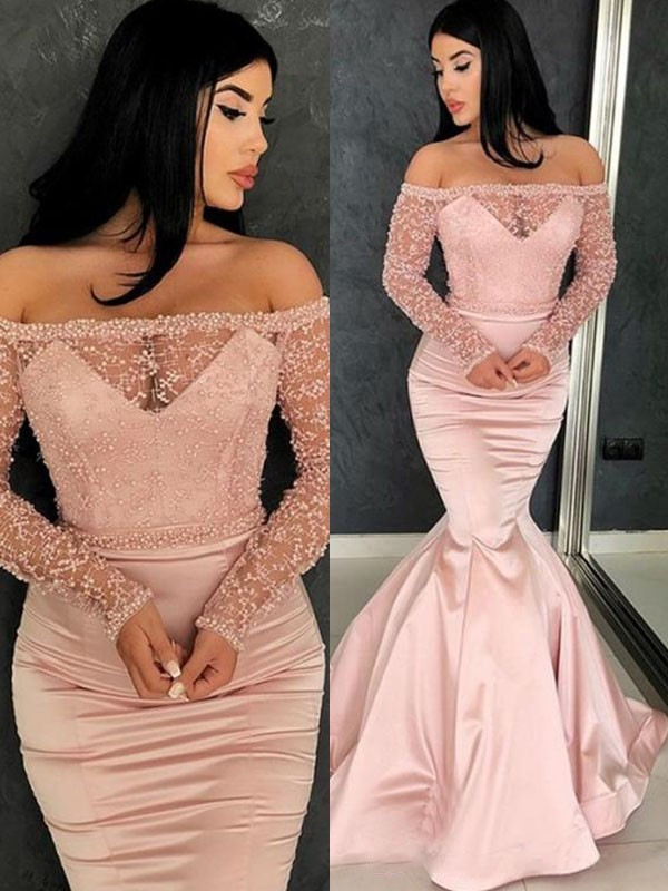Trumpet/Mermaid Off-the-Shoulder Long Sleeves Sweep/Brush Train Satin Dresses with Ruffles