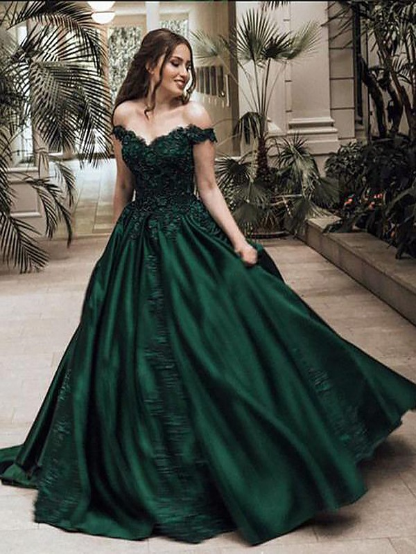 Ball Gown Off-the-Shoulder Sleeveless Floor-Length Satin Dresses with Lace
