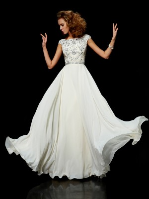 Ball Gown High Neck Short Sleeves Floor-Length Chiffon Dresses with Beading