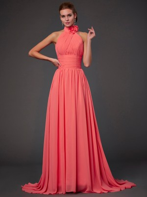 A-Line/Princess Halter Sleeveless Sweep/Brush Train Chiffon Bridesmaid Dresses with Hand-Made Flower