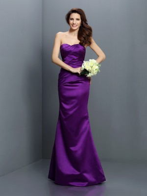 Trumpet/Mermaid Strapless Sleeveless Floor-Length Satin Bridesmaid Dresses with Pleats