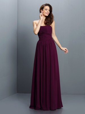 A-Line/Princess Strapless Sleeveless Floor-Length Chiffon Bridesmaid Dresses with Pleats
