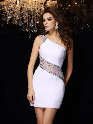 Sheath/Column One-Shoulder Sleeveless Short/Mini Chiffon Dresses with Beading