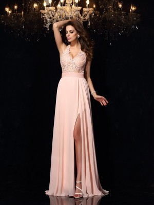 A-Line/Princess Halter Sleeveless Sweep/Brush Train Chiffon Dresses with Lace