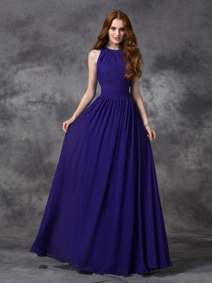 A-Line/Princess Jewel Sleeveless Floor-Length Chiffon Ruched Bridesmaid Dresses