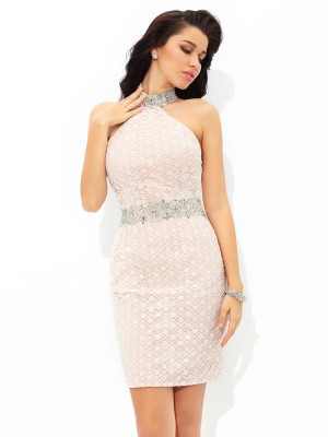 Sheath/Column Halter Sleeveless Short/Mini Satin Dresses with Beading