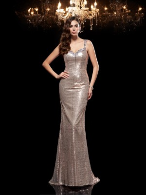 Sheath/Column Straps Sleeveless Sweep/Brush Train Sequins Dresses with Beading