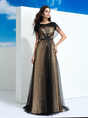 A-Line/Princess Sheer Neck Short Sleeves Floor-Length Net Dresses with Paillette