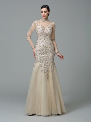 Sheath/Column High Neck Long Sleeves Floor-Length Net Dresses with Applique