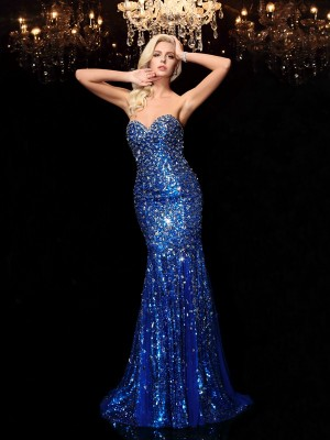 Trumpet/Mermaid Sweetheart Sleeveless Sweep/Brush Train Sequins Dresses with Sequin