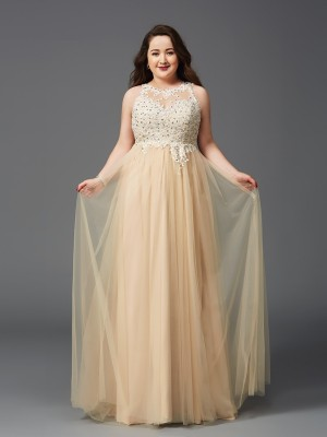 A-Line/Princess Scoop Sleeveless Floor-Length Net Dresses with Rhinestone