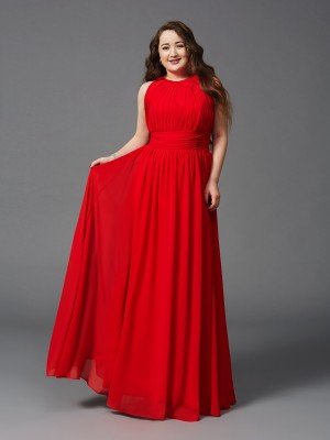 A-Line/Princess Jewel Sleeveless Floor-Length Chiffon Ruched Dresses