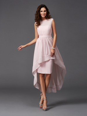 A-Line/Princess Scoop Sleeveless Asymmetrical Chiffon Bridesmaid Dresses with Sash/Ribbon/Belt