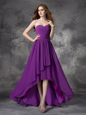 A-Line/Princess Sweetheart Sleeveless Asymmetrical Chiffon Bridesmaid Dresses with Ruffles