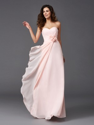 A-Line/Princess Sweetheart Sleeveless Floor-Length Chiffon Bridesmaid Dresses with Hand-Made Flower
