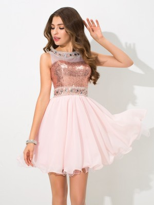 A-Line/Princess Sheer Neck Sleeveless Short/Mini Chiffon Dresses with Sequin