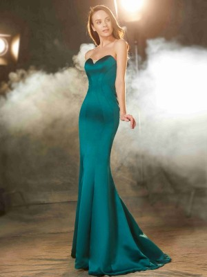 Trumpet/Mermaid Sweetheart Sleeveless Sweep/Brush Train Satin Ruched Dresses