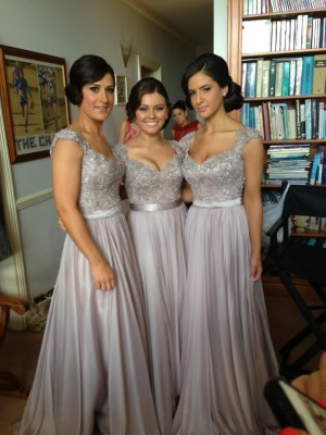Sheath/Column V-neck Short Sleeves Floor-Length Chiffon Bridesmaid Dresses with Beading Lace