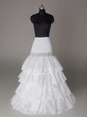 Nylon A-Line 4 Tier Floor Length Slip Style Wedding Petticoat