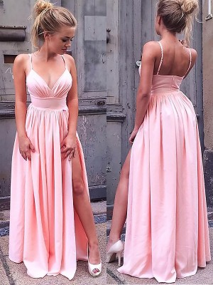 A-Line/Princess Straps Sleeveless Floor-Length Chiffon Ruched Dresses