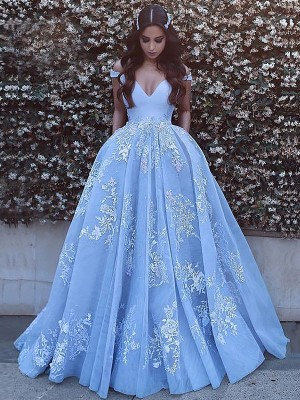 Ball Gown Off-the-Shoulder Sleeveless Sweep/Brush Train Tulle Dresses with Applique