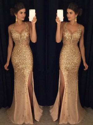 Sheath/Column V-neck Sleeveless Court Train Jersey Dresses with Sequin