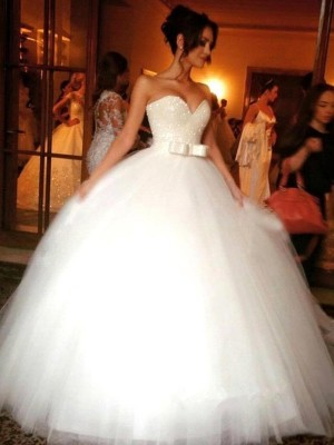 Ball Gown Sweetheart Sleeveless Floor-Length Tulle Wedding Dresses with Bowknot