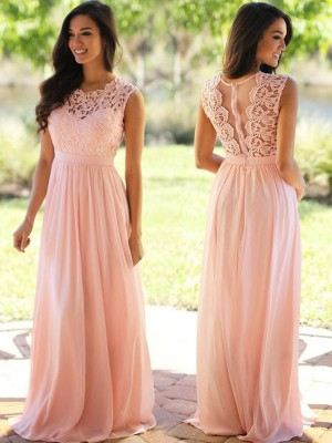 A-Line/Princess Scoop Sleeveless Floor-Length Chiffon Dresses with Applique