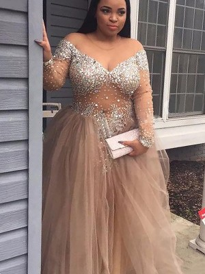 Ball Gown Off-the-Shoulder Long Sleeves Floor-Length Tulle Dresses with Sequin