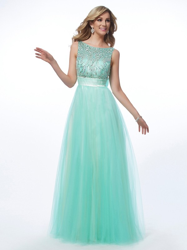 A-Line/Princess Bateau Sleeveless Floor-Length Net Dresses with Beading