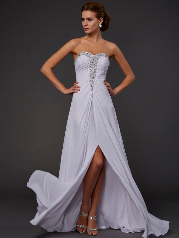 Sheath/Column Strapless Sweetheart Sleeveless Floor-Length Chiffon Dresses with Beading