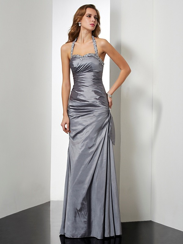 Trumpet/Mermaid Halter Sleeveless Floor-Length Taffeta Dresses with Beading Bowknot