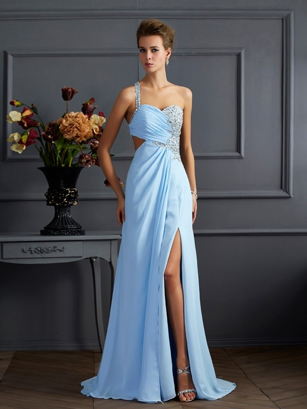 Sheath/Column One-Shoulder Sleeveless Sweep/Brush Train Chiffon Dresses with Beading