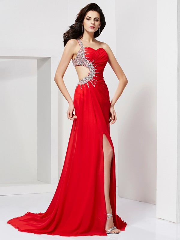 Trumpet/Mermaid Sweetheart One-Shoulder Sleeveless Sweep/Brush Train Chiffon Dresses with Beading Pleats