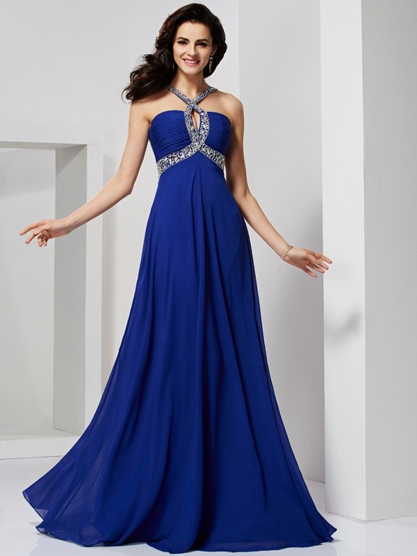 A-Line/Princess Other Sleeveless Sweep/Brush Train Chiffon Dresses with Beading Pleats