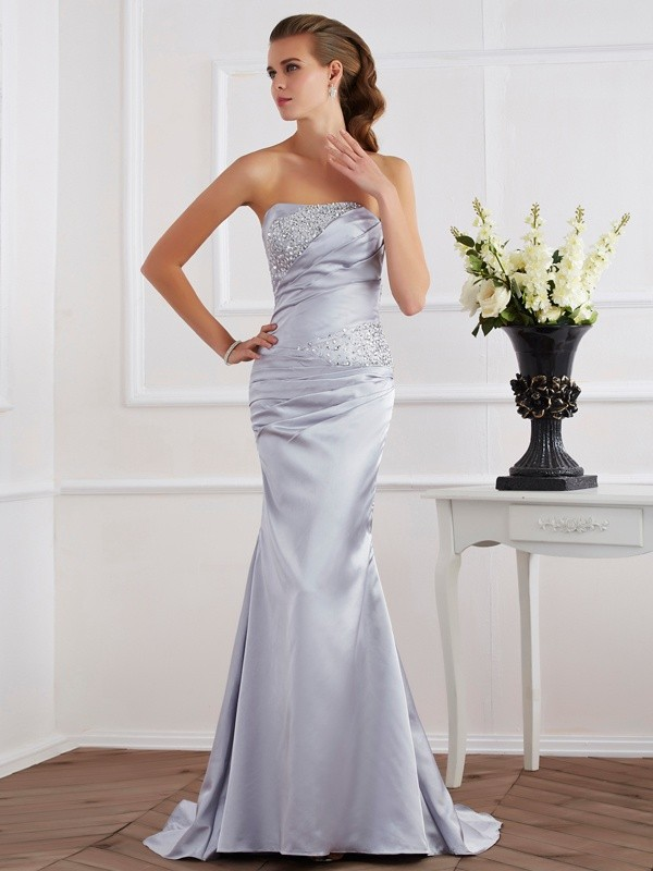 Trumpet/Mermaid Strapless Sleeveless Sweep/Brush Train Elastic Woven Satin Dresses with Beading