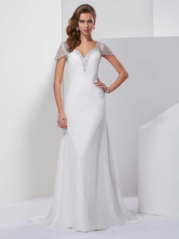 A-Line/Princess Sweetheart Short Sleeves Sweep/Brush Train Chiffon Dresses with Beading Applique