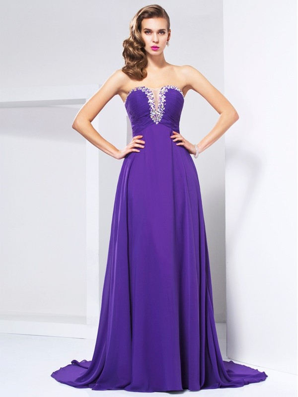 A-Line/Princess Sweetheart Sleeveless Sweep/Brush Train Chiffon Dresses with Beading Rhinestone Ruched