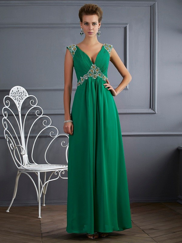 A-Line/Princess V-neck Short Sleeves Ankle-Length Chiffon Dresses with Beading