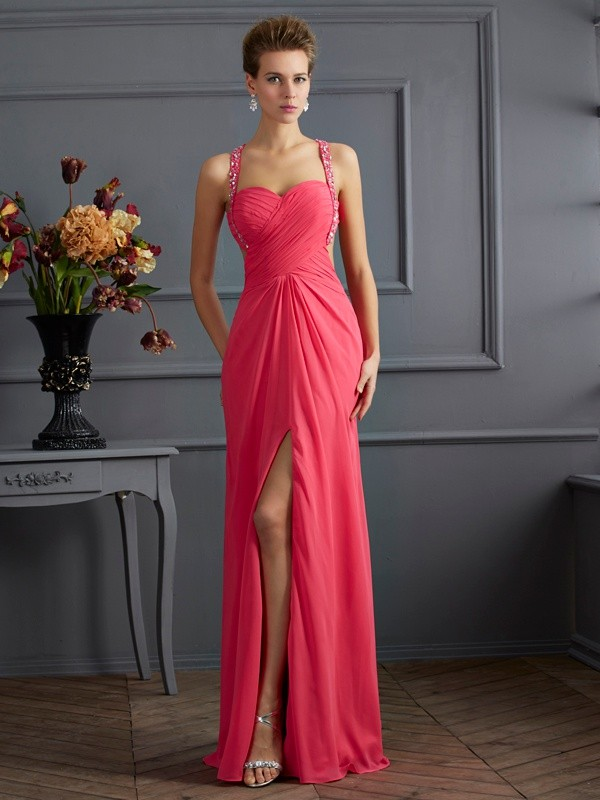Empire Sweetheart Straps Sleeveless Floor-Length Chiffon Dresses with Beading Ruffles