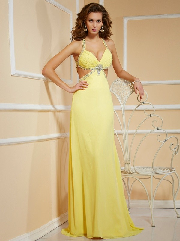 Sheath/Column Spaghetti Straps Sleeveless Floor-Length Chiffon Dresses with Beading