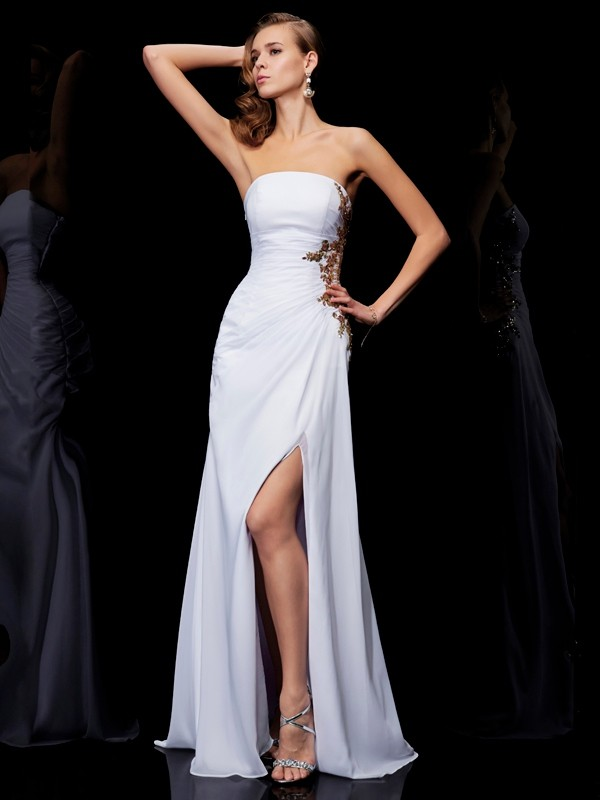 Sheath/Column Strapless Sleeveless Floor-Length Chiffon Dresses with Ruffles Applique