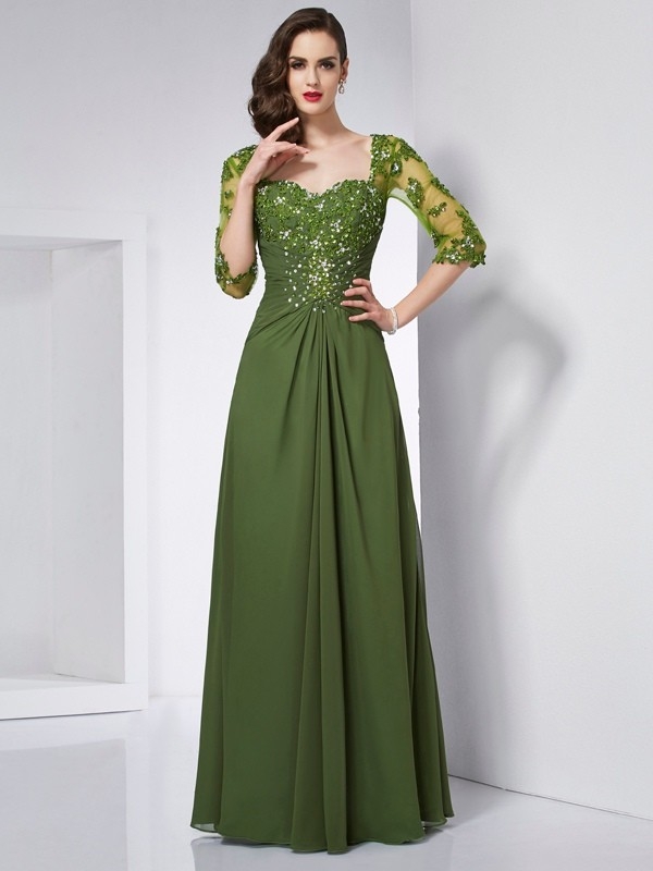 A-Line/Princess Sweetheart 3/4 Sleeves Floor-Length Chiffon Dresses with Beading Applique
