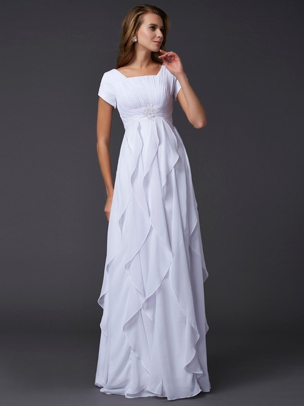 Sheath/Column Square Short Sleeves Floor-Length Chiffon Dresses with Ruffles