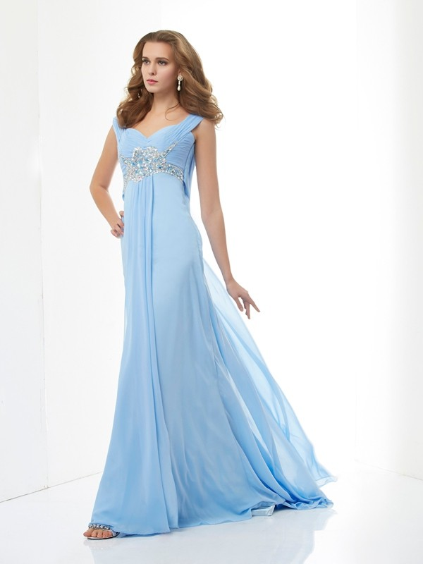 A-Line/Princess Sweetheart Straps Sleeveless Sweep/Brush Train Chiffon Dresses with Beading