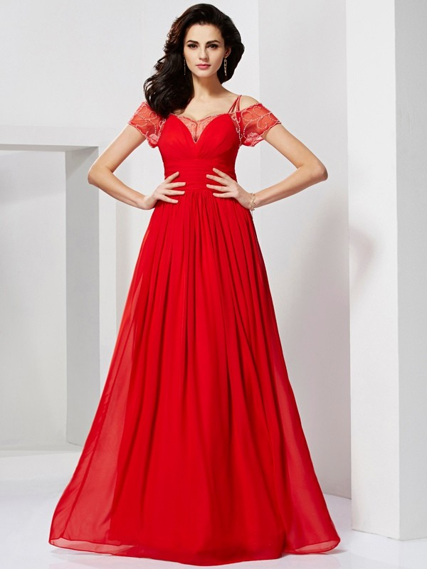 A-Line/Princess Spaghetti Straps Short Sleeves Floor-Length Chiffon Dresses with Beading Ruffles