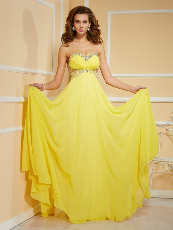 Sheath/Column Sweetheart Sleeveless Floor-Length Chiffon Dresses with Ruffles Rhinestone Ruched