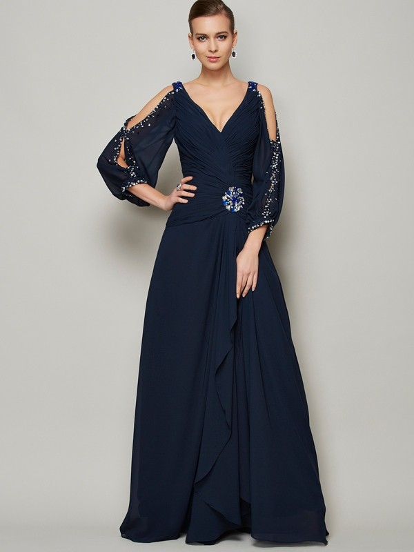 A-Line/Princess V-neck Long Sleeves Ankle-Length Chiffon Dresses with Beading