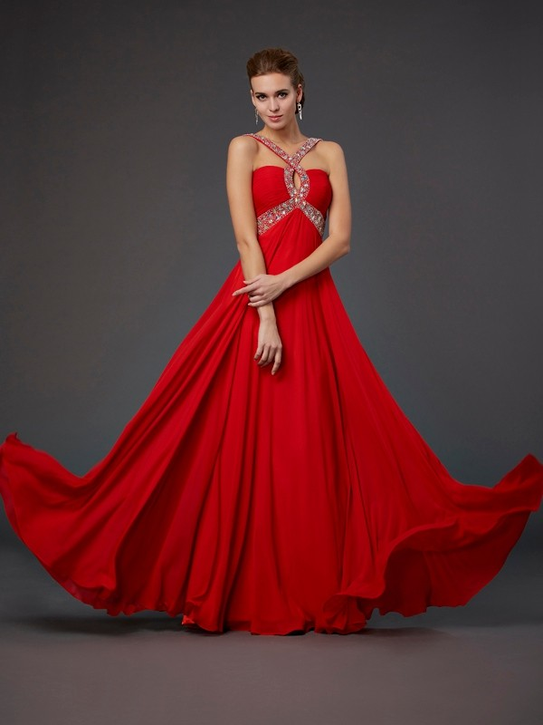 Sheath/Column Halter Sleeveless Floor-Length Chiffon Dresses with Beading Sequin